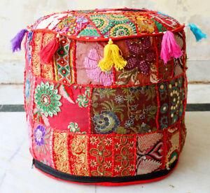 Ottoman Pouf Cover Indian Handmade Vintage Patchwork Cotton Round Pouf Ethnic