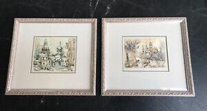 2 Small Original Russian Watercolor Paintings