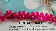 Lot de 50 perles mini goutte rose fushia 6 X 4mm