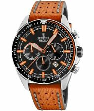 New Festina Men's Chronograph Leather Strap Watch F20377/4