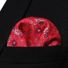 HF704R Red Gray Floral Men Silk Party Handkerchief Pocket Square Hanky
