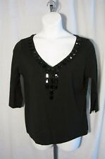 Talbots Woman X 0X Black Knit Shirt Top Jeweled Neckline Stretch Plus Size