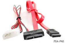 """20"""" Slimline SATA 13-Pin Male to 7-Pin SATA Male w/ 5V 4-Pin Molex Cable"""