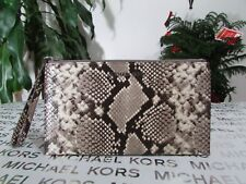 NWT Michael Kors Embossed Leather Bedford Large Zip Clutch Wristlet Natural