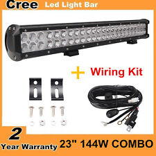 "23"" 144W CREE Led Light Bar Spot Flood Boat SUV 4WD UTE Truck with Wire Harness"