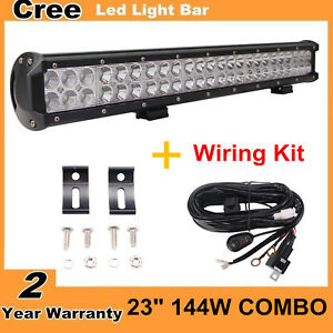 """23"""" 144W CREE Led Light Bar Spot Flood Boat SUV 4WD UTE Truck with Wire Harness"""