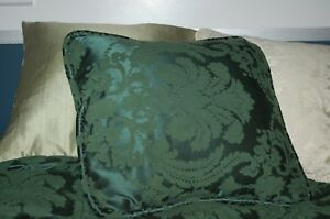 3 throw pillows green  18 x 18 square beige