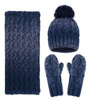 Adults' Men's Women's 3 in 1 Winter Warm Knit Beanie Hat Scarf and Glove Set