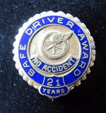 Old Safe Driver Award '10k gold filled' 21 Years No Accident 'winged tire' Pin