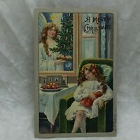 Vintage Embossed Postcard A Merry Christmas Greeting Angel and Child Motif