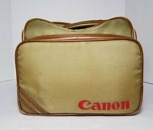 Vintage Canon S-1 TN Camera Bag Tan Nylon Brown Leather Trim w/ Strap Retro