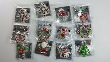 12pcs Brooch Pin Silver Plated Rhinestone Christmas for Christmas wholesale Lot.
