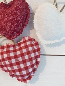3 X Rustic Handmade Shabby Chic Hanging Hearts Wedding Christmas Red White