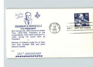 MASONIC, President Franklin D. Roosevelt, Mason Holland Lodge No. 8, New York, F
