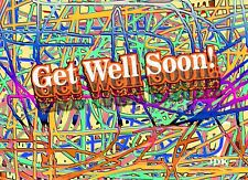 "NEW!  MODERN/ABSTRACT Style ""GET WELL SOON!"" 12- CARDS  w/Envelopes"