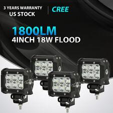 4x 4INCH 18W CREE LED Work Light Bar FLOOD Offroad Fog Lamp 4WD SUV Pickup ATV