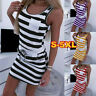 Women Summer Casual Sleeveless Stripe T Shirts Dress Ladies Tunic Waist Dresses