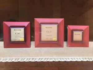 MILANO SERIES Square Wood PHOTO FRAMES Set 3x3 4x4 5x5 Red/Purple/Green NEW!