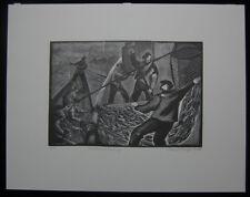 1951 Original Bernard Brussel-Smith Wood Engraving Mackerel Seomomg S/N 10/50