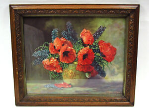 ART- Qty 2 Prints In Antique Frame Poppies By M. Streckenbach & 1903 Photograph