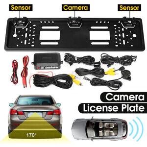 Car HD Rear View Reverse Backup Camera EU License Plate & 2 Parking Sensor Radar