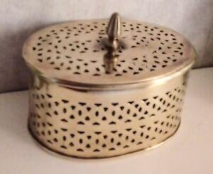 Vintage Brass Oval Lidded Bowl Holder Basket For Pot Pourri