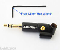 "1pc SHURE Gold 3.5mm 1/8"" Stereo Male Audio Soldering Connectors w/black housing"