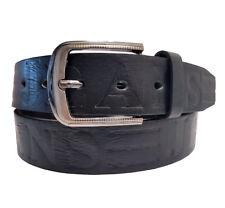 Damen Herren Gürtel Schwarz Braun Grau Jeans-Prägung Belt Vintage Luxus 4 cm NEU
