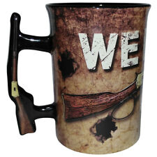 NEW We Don't Call 911 Ceramic 16 Ounce Coffee Cup Mug With Rifle Shaped Handle