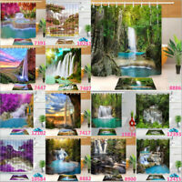 Forest Waterfall Scene Shower Curtain Set 100% Polyester Fabric Bathroom & Hooks