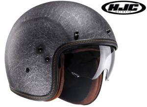HJC FG-70s VINTAGE matt schwarz grau Fiberglas Gr. XS  Motorradhelm Jet Helm