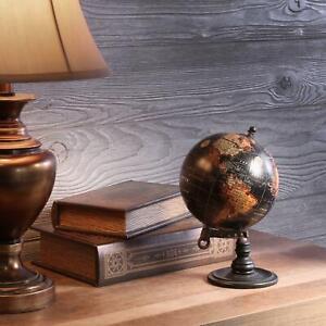 Table Top World Globe Black Decorative Desk Decor Tabletop Display Small Metal