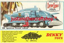 Dinky Toys 104 SPV Captain Scarlet Gerry Anderson Large Size Poster Sign Leaflet