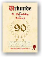 Urkunde zum 90. GEBURTSTAG Geschenkidee Geburtstagsurkunde mit Name Druck Deko