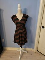 Audrey Womens Black And Orange Short Sleeve Dress Size Small