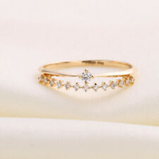 14K Yellow Gold Band 6 7 8 9 Round Cut 0.20 Ct Diamond Engagement Solitaire Ring