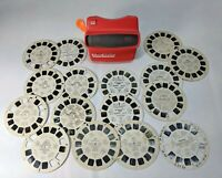 Vintage 3-D VIEWMASTER VIEWER Lightweight Red Plastic With Lot of Slides