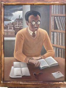 Valenti Michael Angelo Portrait Man  Oil Painting San Francisco  Exhibited WPA