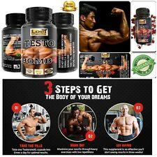 3X TESTO BOMB+ ANABOLIC STRONG LEGAL TESTOSTERONE MUSCLE BOOST NO STEROIDS