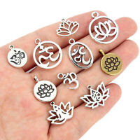 new 10pcs Mix Styles Tibetan Silver Lotus Flower Yoga Charm Pendants Jewelry DIY