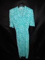 Vintage 80s Lloyd Williams 6 S Teal Blue White Secretary Wrap Dress Short Sleeve
