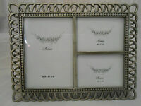 "BEAUTIFUL ""SIENNA"" PEWTER PICTURE FRAME ~ 3 PHOTOS ~ ORNATE SPIRAL DESIGN"