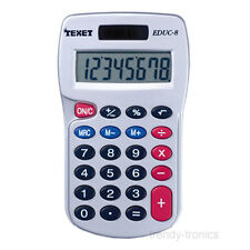 Texet Dual Powered Pocket Calculator Ideal For School Home Or Office Use - Grey