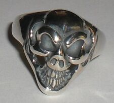 BILL WALL LEATHER R310 GOOD LUCK SKULL RING BWL 925 STERLING SILVER