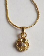 pendentif collier bijoux rétro plaqué or 18k poinçon fleur cristaux diams * 4553