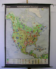Schulwandkarte Wandkarte Karte USA Kanada Nord Amerika Wirtschaft ~1960 100x133c