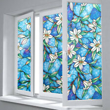 45cm*100cm Blue Orchid Window Film DIY Privacy Protective Stained Glass TOP