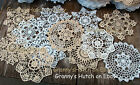 lot of 12 Hand Crochet Doilies 7' White & Natural Vintage Wedding Tea Party NEW