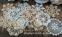 "lot of 12 Hand Crochet Doilies 7"" White & Natural Vintage Wedding Tea Party NEW"