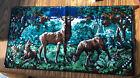 "Vintage Tapestry Deer (doe, Buck, Fawn) Made In France 37.25x19.25"""